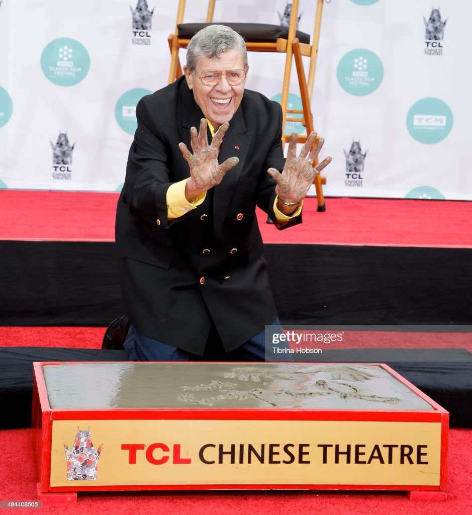 Jerry Lewis is honored with a hand and footprint ceremony at TCL Chinese Theatre IMAX on April 12, 2014 in Hollywood, California.