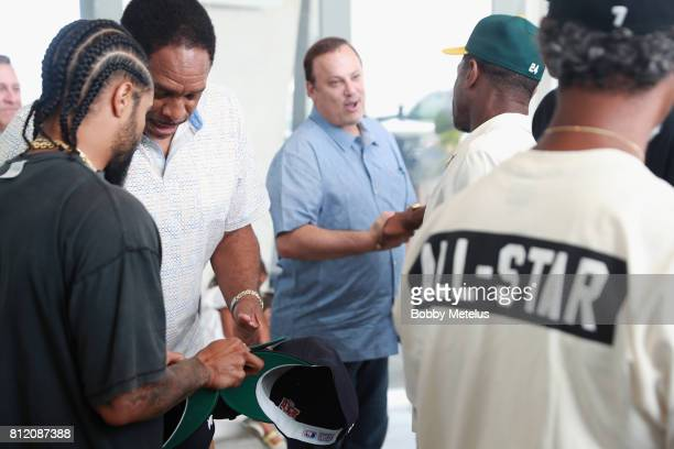 Jerry Lorenzo and Dave Winfield attend the New Era Cap X Fear Of God Pop Up at Alchemist on July 10 2017 in Miami Beach Florida