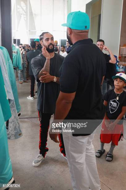 Jerry Lorenzo and Gary Sheffield attend the New Era Cap X Fear Of God Pop Up at Alchemist on July 10 2017 in Miami Beach Florida