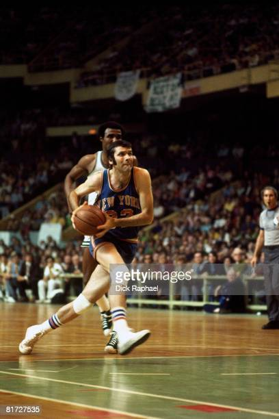Jerry Lucas of the New York Knicks drives to the basket against the Boston Celtics circa 1973 at the Boston Garden in Boston Massachusetts NOTE TO...