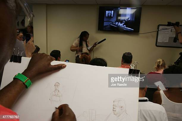 Jerry McJunkins a sketch artist draws the scene as Dylann Roof attends his bond hearing via closed circuit video at the Centralized Bond Hearing...