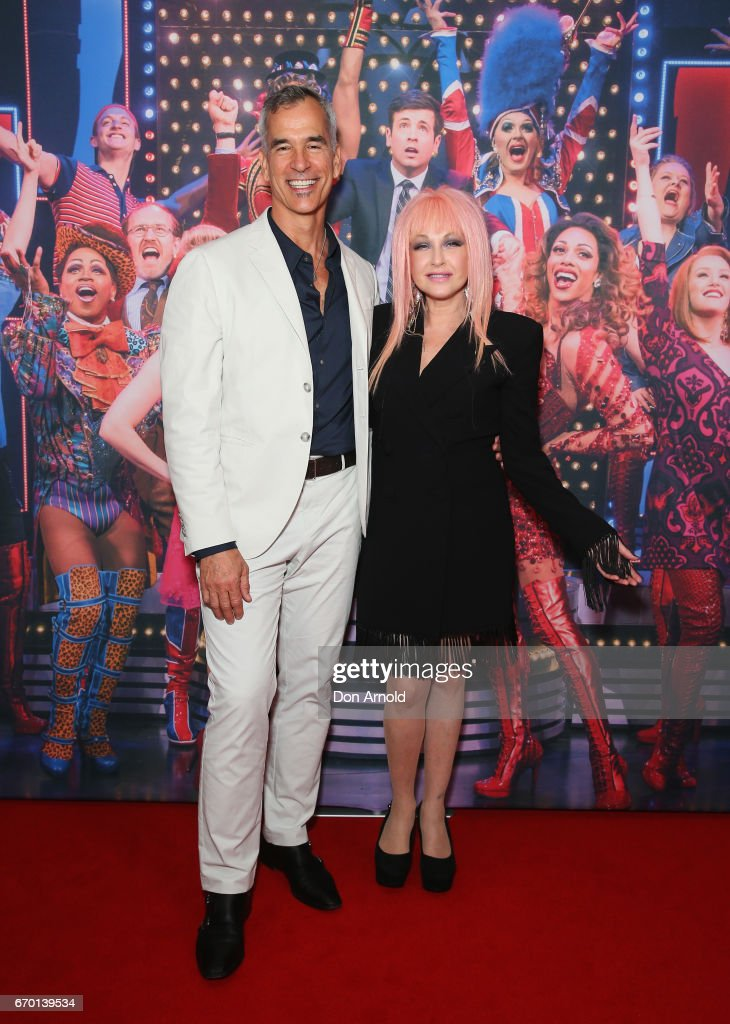 Jerry Mitchell and Cyndi Lauper arrive for the opening night of Cyndi Lauper's Kinky Boots at Capitol Theatre on April 19, 2017 in Sydney, Australia.