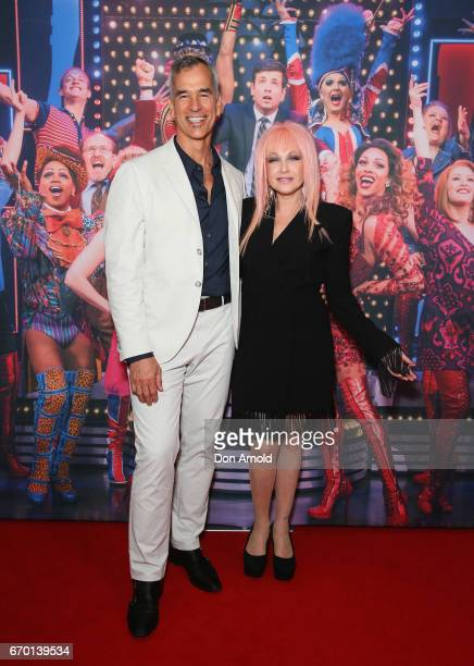 Jerry Mitchell and Cyndi Lauper arrive for the opening night of Cyndi Lauper's Kinky Boots at Capitol Theatre on April 19 2017 in Sydney Australia