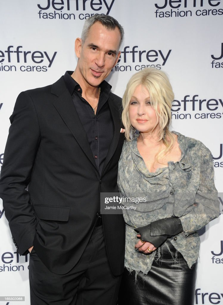 Jerry Mitchell and Cyndi Lauper attend the Jeffrey Fashion Cares 10th Anniversary Celebration at The Intrepid on April 2, 2013 in New York City.