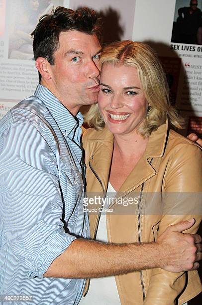 Jerry O'Connell and wife Rebecca Romijn pose backstage at the New York premiere of 'American Hero' at Second Stage Theatre Uptown on May 13 2014 in...