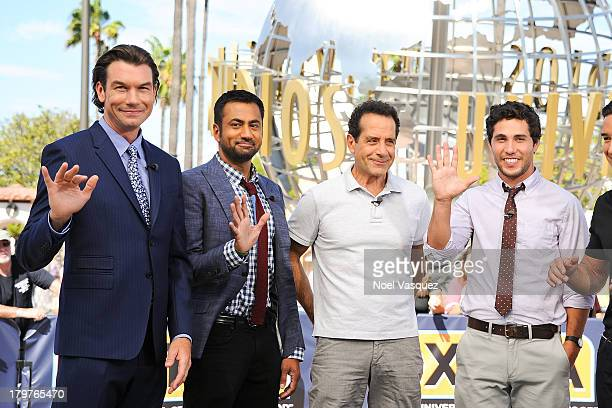 Jerry O'Connell Kal Penn Tony Shalhoub and Christopher Nicholas Smith visit 'Extra' at Universal Studios Hollywood on September 6 2013 in Universal...