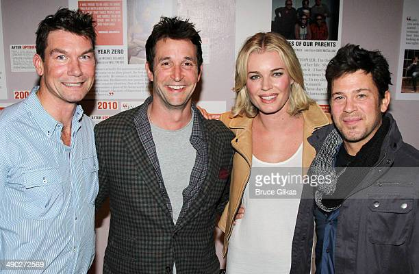 Jerry O'Connell Noah Wyle Rebecca Romijn and Christian Kane pose backstage at the New York premiere of 'American Hero' at Second Stage Theatre Uptown...
