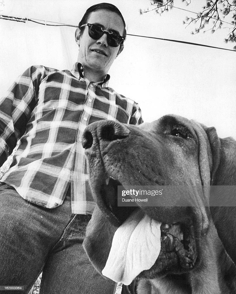 AUG 25 1970 OCT 13 1970 Jerry Powell of Boulder of the Longmont emergency unit joins a 'search dog' training session with his bloodhound Towny