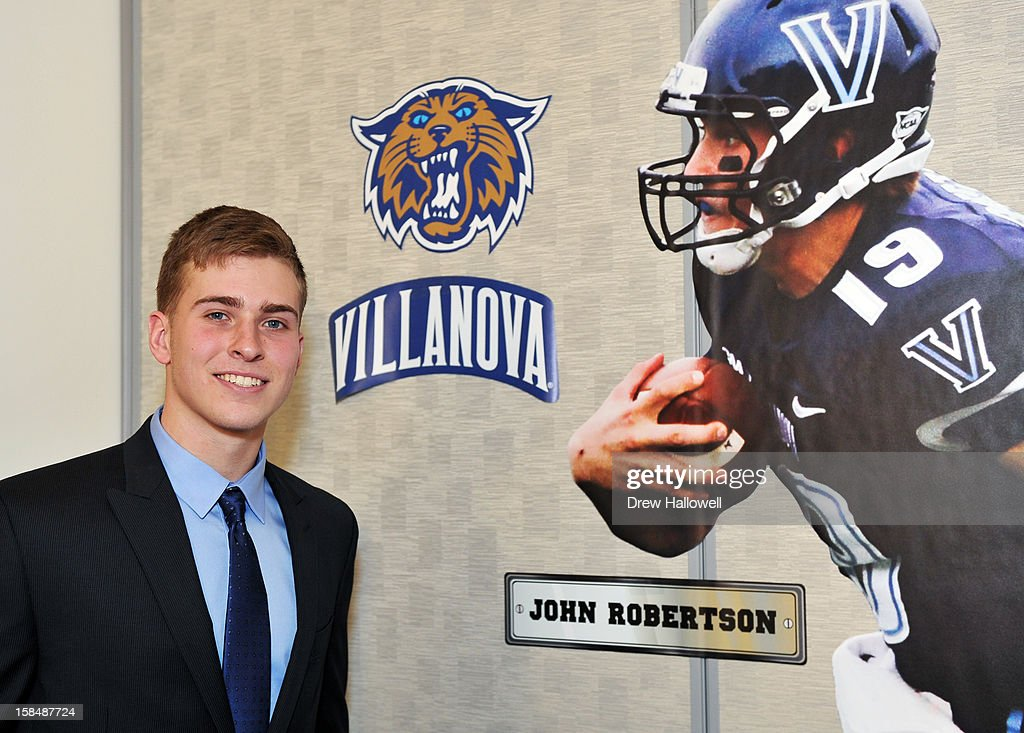 Jerry Rice Award winner John Robertson of Villanova University poses for a photograph during the Sports Network's 26th Annual FCS Awards Presentation at the Sheraton Society Hill on December 17, 2012 in Philadelphia, Pennsylvania.