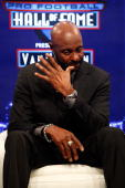 Jerry Rice is overcome with emotion for a moment after he was announced as one of the newest enshrinees into the Hall of Fameduring the Pro Football...