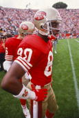 Jerry Rice of the San Francisco 49ers before the start of a National Football League game against the New England Patriots played in Stanford Stadium...