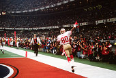 Jerry Rice of the San Francisco 49ers celebrates after he scored a touchdown against the Denver Broncos during Super Bowl XXIV on January 28 1990 at...