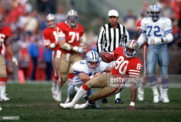 Jerry Rice of the San Francisco 49ers in action against the Dallas Cowboys during the NFC Conference Championship Game January 17 1993 at Candlestick...