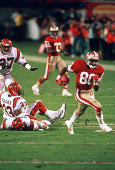 Jerry Rice of the San Francisco 49ers runs with the ball after a catch against the Cincinnati Bengals during Super Bowl XXIII on January 22 1989 at...