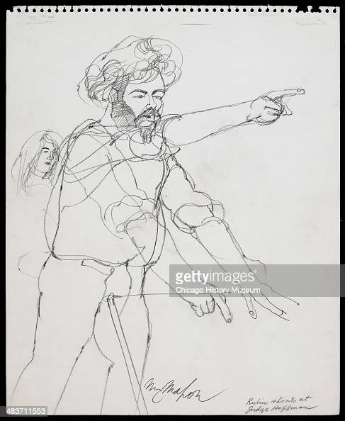 Jerry Rubin raising arm and shouting at judge in a courtroom illustration during the trial of the Chicago Eight Chicago Illinois late 1969 or early...