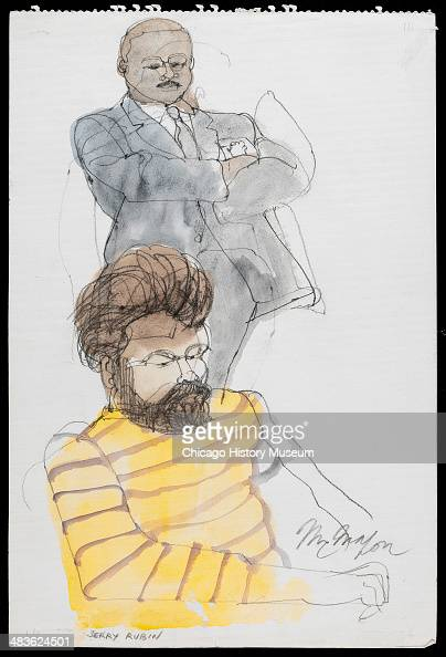 Jerry Rubin seated while marshal watches him in a courtroom illustration during the trial of the Chicago Eight Chicago Illinois late 1969 or early...