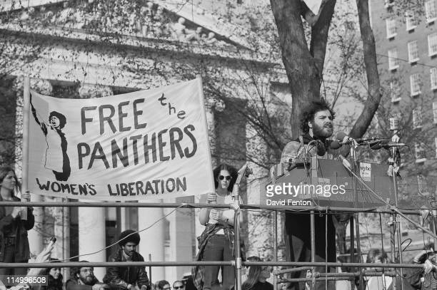 Jerry Rubin speaks to supporters rally in support of Black Panther Party held at New Haven Green on the Yale University campus New Haven CT May 12...