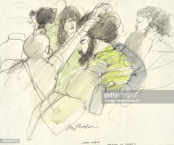 Jerry Rubin surrounded by the press in a courtroom illustration during the trial of the Chicago Eight Chicago Illinois late 1969 or early 1970 The...