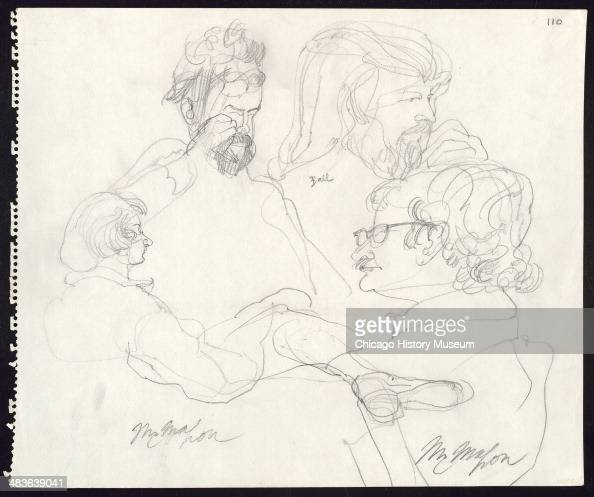 Jerry Rubin Tom Hayden John Froines and Stuart Ball in a courtroom illustration during the trial of the Chicago Eight Chicago Illinois late 1969 or...