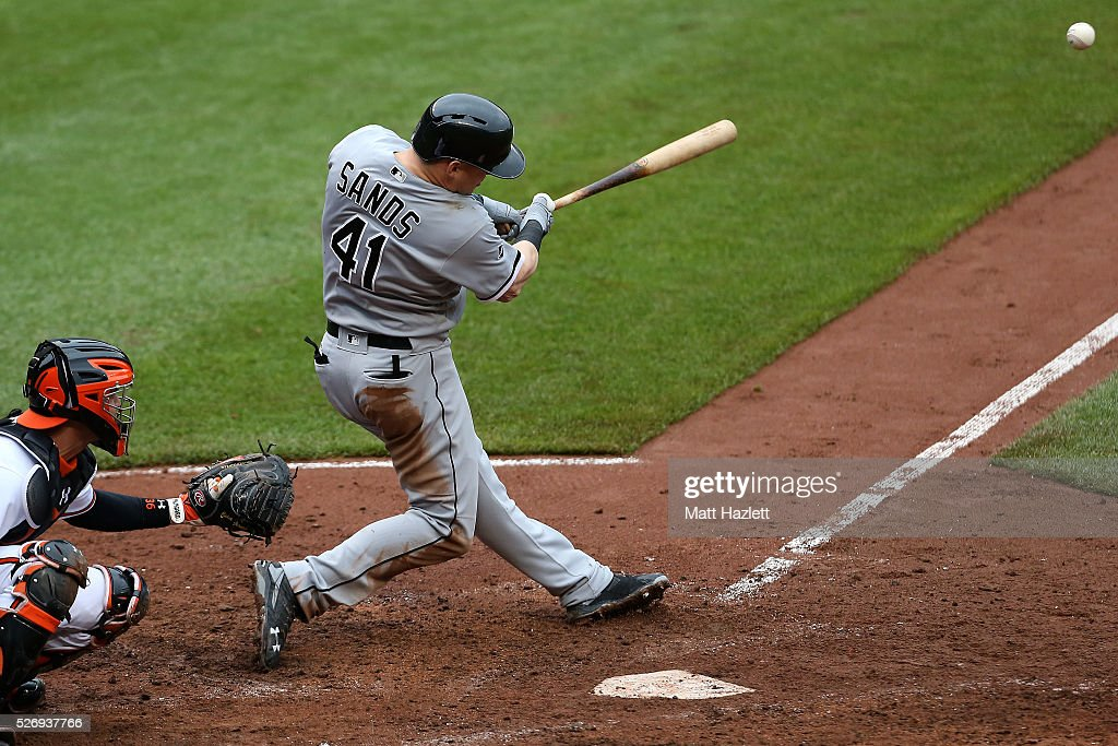 Jerry Sands #41 of the Chicago White Sox hits two run RBI single in the fifth inning against the Baltimore Orioles at Oriole Park at Camden Yards on May 1, 2016 in Baltimore, Maryland.