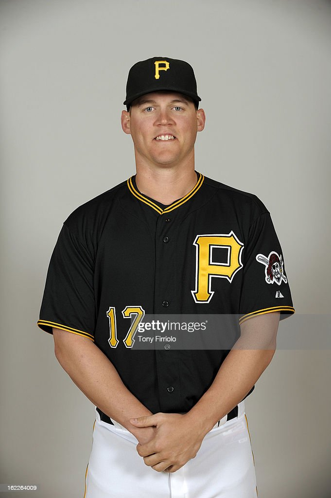 Jerry Sands #17 of the Pittsburgh Pirates poses during Photo Day on February 17, 2013 at McKechnie Field in Bradenton, Florida.
