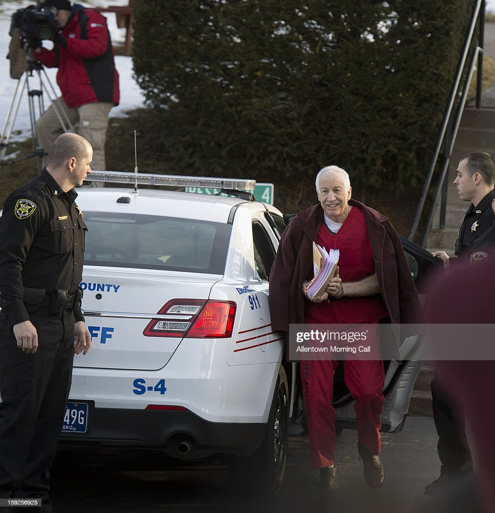 <a gi-track='captionPersonalityLinkClicked' href=/galleries/search?phrase=Jerry+Sandusky&family=editorial&specificpeople=8608969 ng-click='$event.stopPropagation()'>Jerry Sandusky</a> arrives for his hearing at the Centre County Courthouse in Bellefonte, Pennsylvania, on Thursday, January 10, 2013.