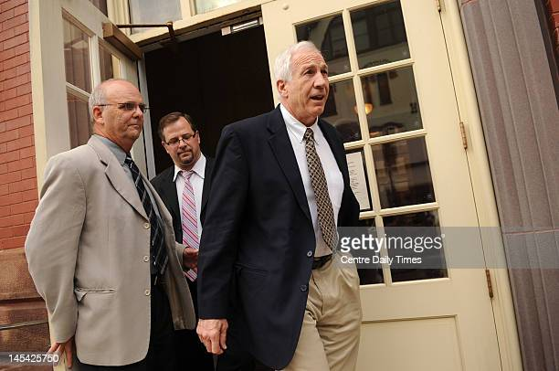Jerry Sandusky exits the Centre County Courthouse Annex in Bellefonte Pennsylvania Tuesday May 29 after a pretrial hearing with Centre County Sheriff...
