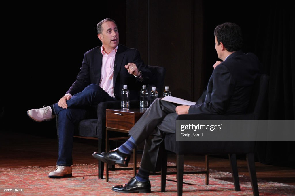 Jerry Seinfeld and David Remnick speak onstage during the 2017 New Yorker Festival at New York Society for Ethical Culture on October 6, 2017 in New York City.