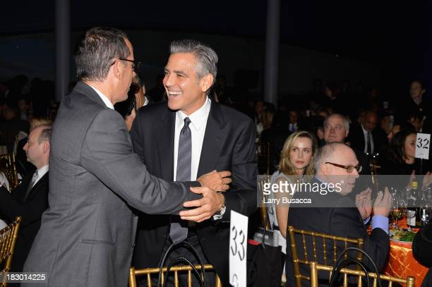Jerry Seinfeld and George Clooney attend the USC Shoah Foundation Institute 2013 Ambassadors for Humanity gala at the American Museum of Natural...