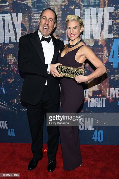 Jerry Seinfeld and Jessica Seinfeld attend SNL 40th Anniversary Celebration at Rockefeller Plaza on February 15 2015 in New York City
