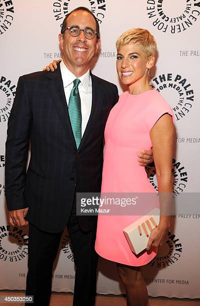 Jerry Seinfeld and Jessica Seinfeld backstage before Jerry Seinfeld and David Letterman discuss Crackle's Comedians in Cars Getting Coffee at The...