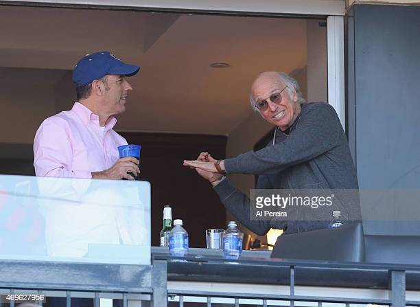 Jerry Seinfeld and Larry David discuss batting technique when they attend the NY Mets home opener VS The Philadelphia Phillies at Citi Field on April...