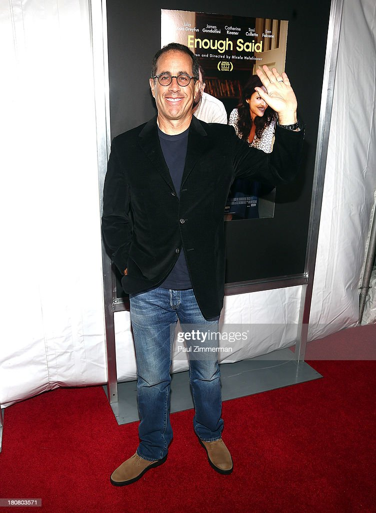 <a gi-track='captionPersonalityLinkClicked' href=/galleries/search?phrase=Jerry+Seinfeld&family=editorial&specificpeople=210541 ng-click='$event.stopPropagation()'>Jerry Seinfeld</a> attends the 'Enough Said' New York Screening at Paris Theater on September 16, 2013 in New York City.