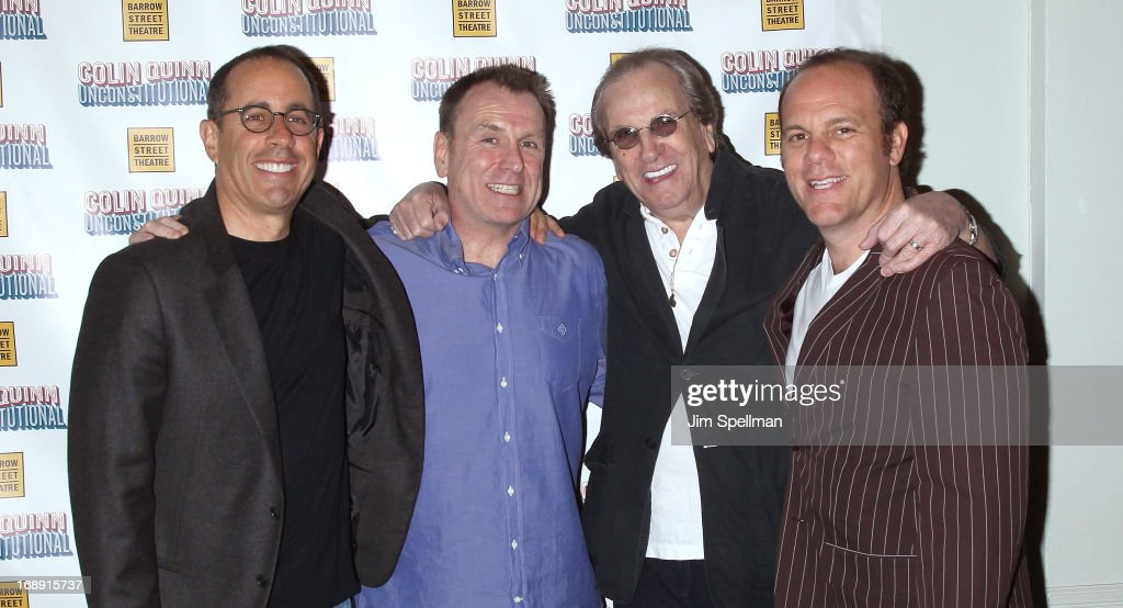 Jerry Seinfeld Colin Quinn Danny Aiello and Tom Papa attend the 'Colin Quinn Unconstituional' OffBroadway Opening Night at the Barrow Street Theater...