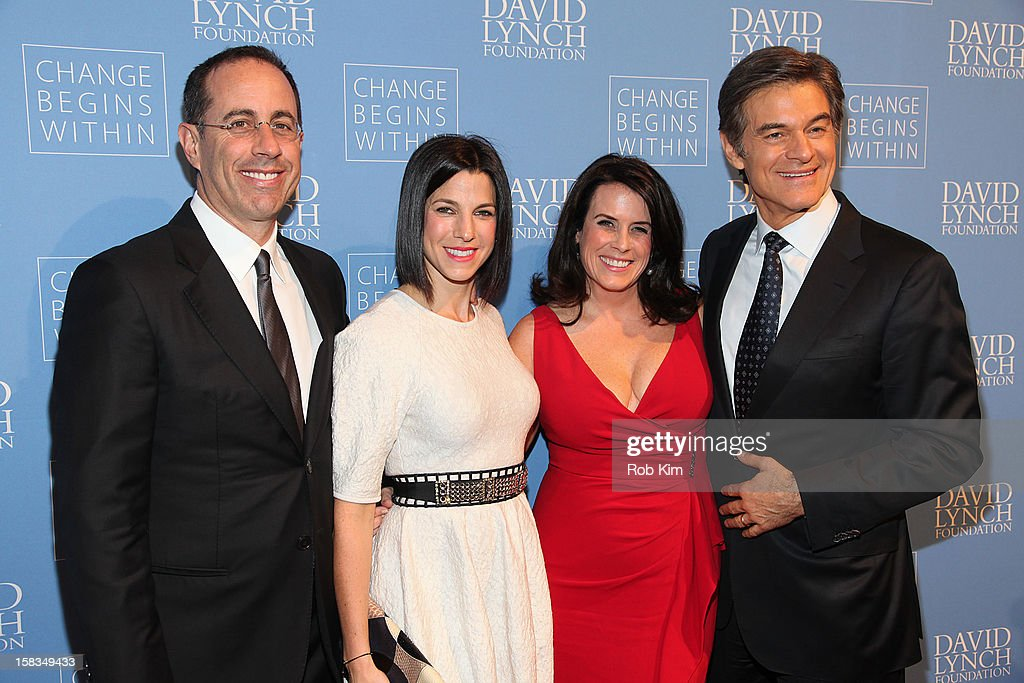 Jerry Seinfeld, Jessica Seinfeld, Lisa Oz and Dr. Mehmet Oz attend 'An Intimate Night of Jazz' hosted by The David Lynch Foundation at Frederick P. Rose Hall, Jazz at Lincoln Center on December 13, 2012 in New York City.