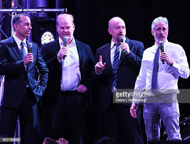 Jerry Seinfeld Ji Gaffigan Louis CK and Jon Stewart attend the 10th Annual Stand Up For Heroes Show at The Theater at Madison Square Garden on...