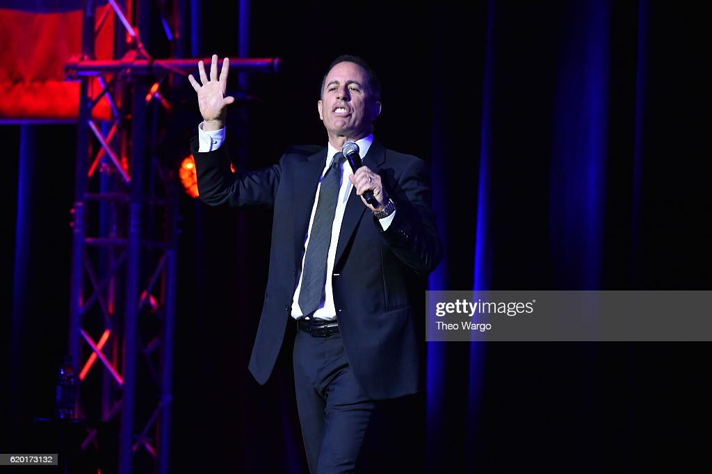 Jerry Seinfeld performs on stage during 10th Annual Stand Up For Heroes at The Theater at Madison Square Garden on November 1, 2016 in New York City.