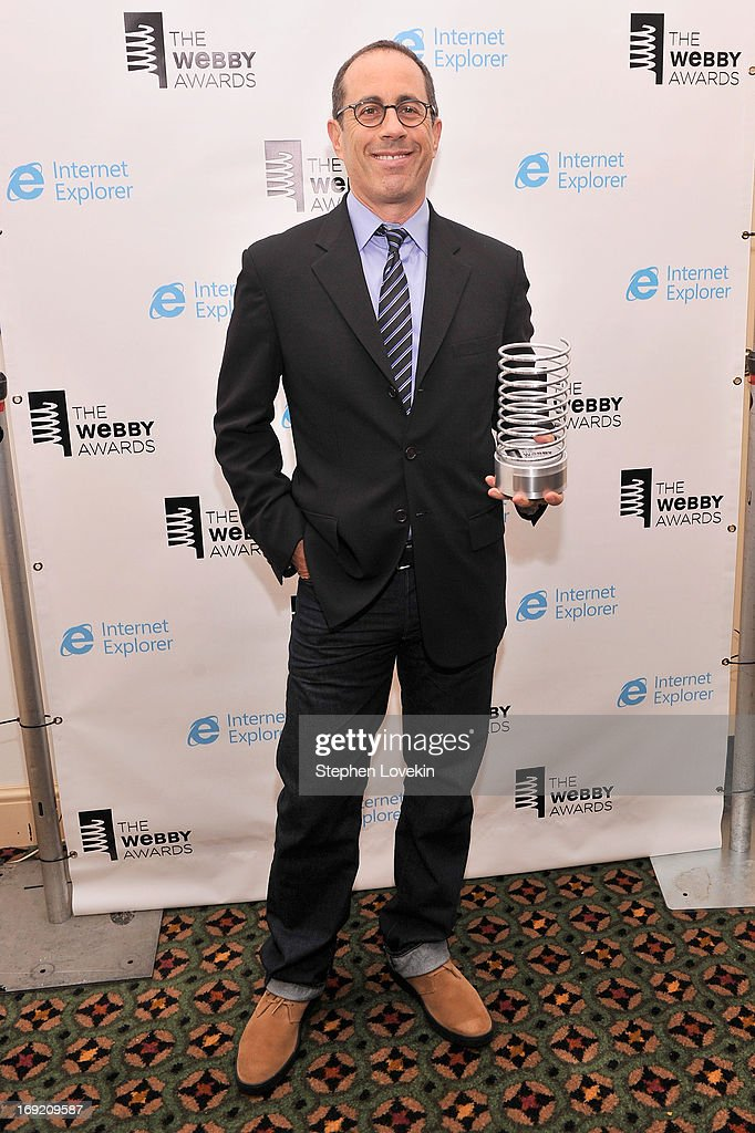 <a gi-track='captionPersonalityLinkClicked' href=/galleries/search?phrase=Jerry+Seinfeld&family=editorial&specificpeople=210541 ng-click='$event.stopPropagation()'>Jerry Seinfeld</a> poses with an award at the 17th Annual Webby Awards at Cipriani Wall Street on May 21, 2013 in New York City.