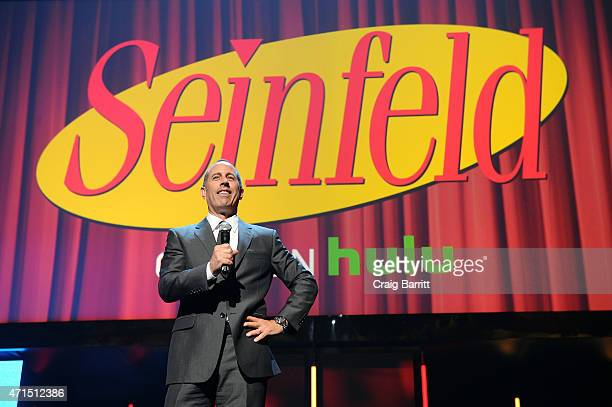 Jerry Seinfeld speaks onstage at the 2015 Hulu Upfront Presentation at Hammerstein Ballroom on April 29 2015 in New York City