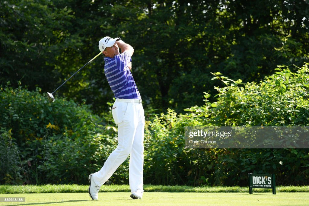 Jerry Smith tees off on the 15th hole during the second round of the PGA TOUR Champions DICK'S Sporting Goods Open at En-Joie Golf Course on August 19, 2017 in Endicott, New York.