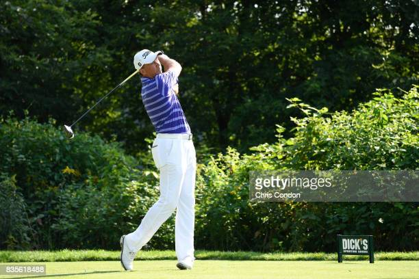 Jerry Smith tees off on the 15th hole during the second round of the PGA TOUR Champions DICK'S Sporting Goods Open at EnJoie Golf Course on August 19...