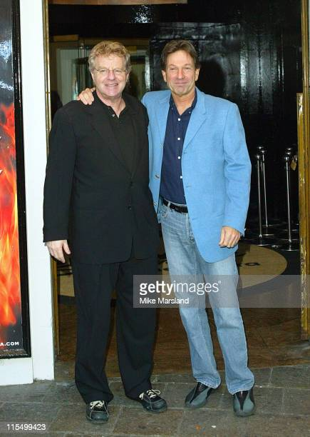 Jerry Springer and Michael Brandon during Photocall For 'Jerry Springer The Opera' at The Cambridge Theatre in London United Kingdom