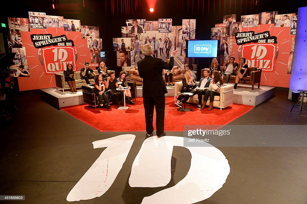 <a gi-track='captionPersonalityLinkClicked' href=/galleries/search?phrase=Jerry+Springer&family=editorial&specificpeople=214761 ng-click='$event.stopPropagation()'>Jerry Springer</a> on set during One Direction celebrates 1D Day at YouTube Space LA, a 7-hour livestream event broadcast exclusively on YouTube and Google+. Featuring behind the scenes footage, Guinness world record attempts, and amazing special guests, the global event also marked the premiere of tracks from their new album 'Midnight Memories', set for release November 25th, in Playa Vista, California on November 23, 2013
