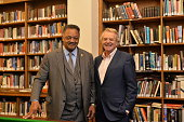 Jerry Springer posing with Rev Jesse Jackson after his Cambridge Union address at The Cambridge Union on November 5 2015 in Cambridge Cambridgeshire