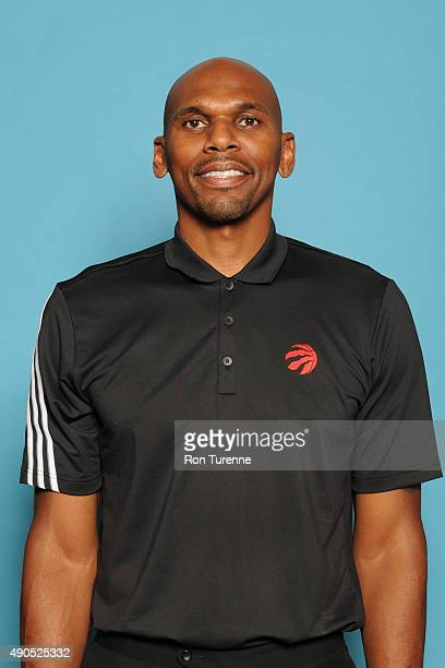 Jerry Stackhouse assistant coach of the Toronto Raptors poses for a photo during media day on September 28 at the Air Canada Centre in Toronto...