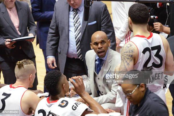 Jerry Stackhouse head coach of the Raptors 905 directs his team during a timeout during the third quarter in Game Three of the DLeague Finals against...