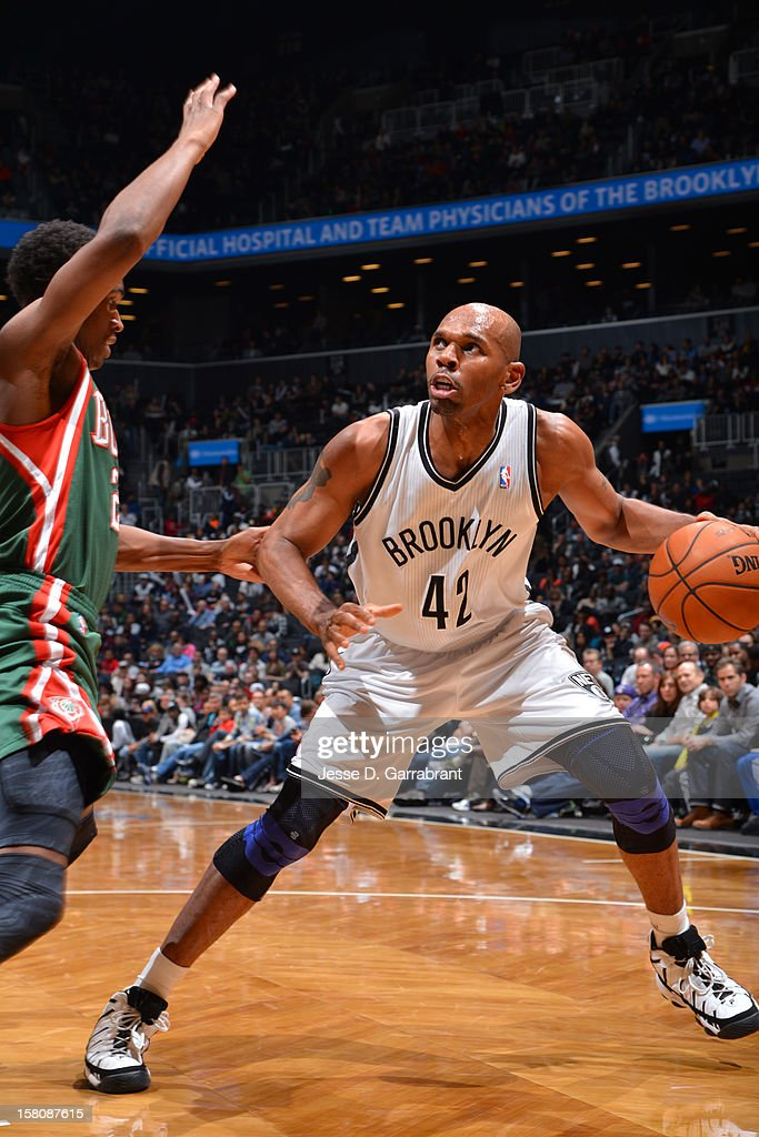 <a gi-track='captionPersonalityLinkClicked' href=/galleries/search?phrase=Jerry+Stackhouse&family=editorial&specificpeople=201683 ng-click='$event.stopPropagation()'>Jerry Stackhouse</a> #42 of the Brooklyn Nets handles the ball against the Milwaukee Bucks on December 9, 2012 at the Barclays Center in Brooklyn, New York.