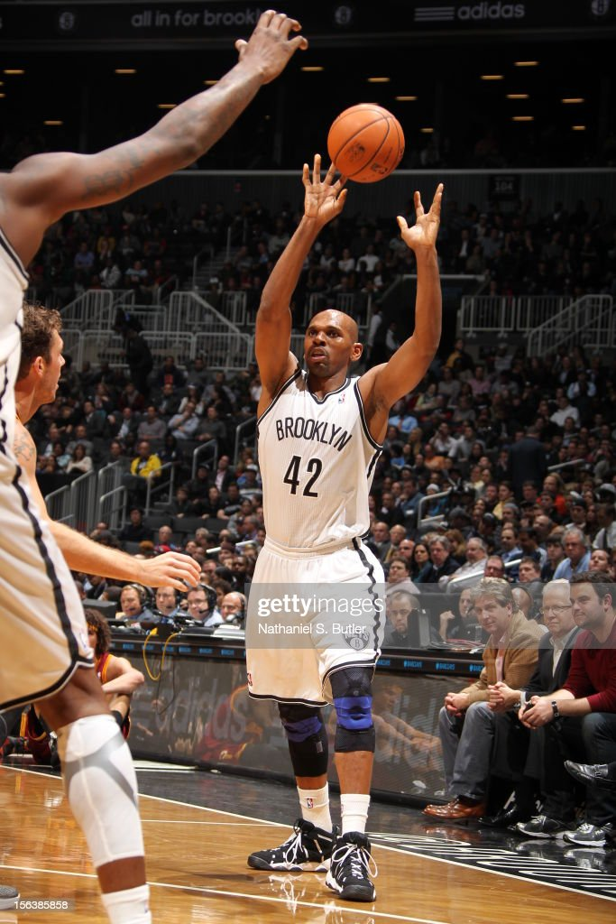 Jerry Stackhouse #42 of the Brooklyn Nets passes the ball against the Cleveland Cavaliers on November 13, 2012 at the Barclays Center in the Brooklyn Borough of New York City.