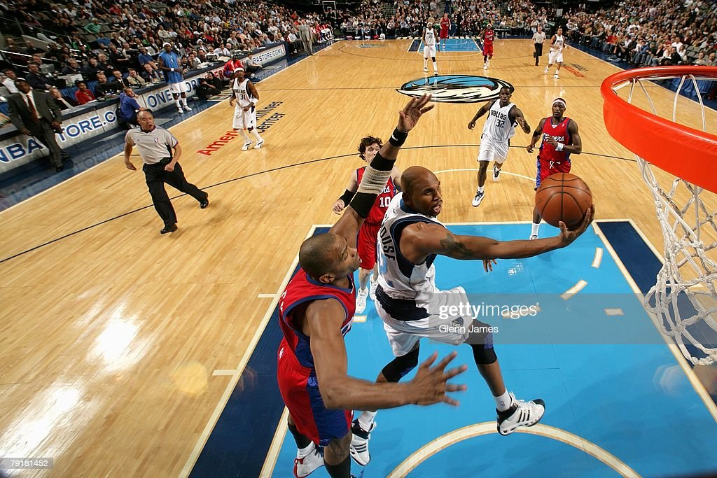Jerry Stackhouse #42 of the Dallas Mavericks goes to the basket past Cuttino Mobley #5 of the Los Angeles Clippers during the game on December 21, 2007 at American Airlines Center in Dallas, Texas. The Mavericks won 102-89.