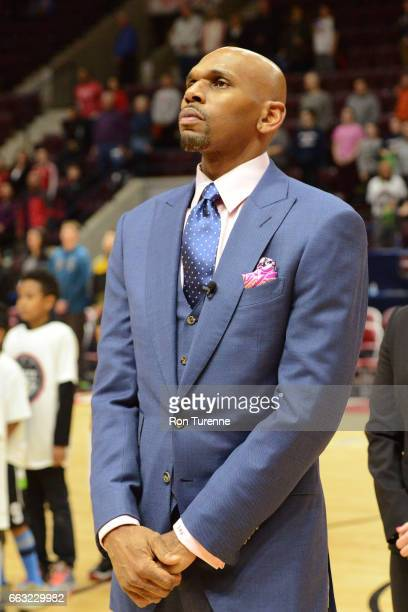 Jerry Stackhouse of the Raptors 905 stands on the court before the game against the Windy City Bulls on March 30 2017 in Mississauga Ontario Canada...